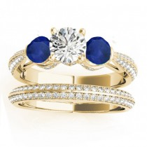 Diamond & Blue Sapphire Bridal Set Setting 18k Yellow Gold (1.04ct)