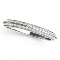 Diamond & Emerald 3 Stone Bridal Set Setting 14k White Gold (1.04ct)