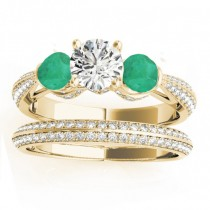 Diamond & Emerald 3 Stone Bridal Set Setting 14k Yellow Gold (1.04ct)