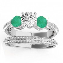 Diamond & Emerald 3 Stone Bridal Set Setting Palladium (1.04ct)