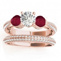 Diamond & Ruby 3 Stone Bridal Set Setting 14k Rose Gold (1.04ct)