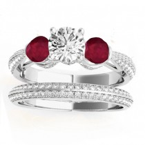 Diamond & Ruby 3 Stone Bridal Set Setting 14k White Gold (1.04ct)