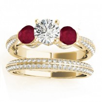 Diamond & Ruby 3 Stone Bridal Set Setting 14k Yellow Gold (1.04ct)