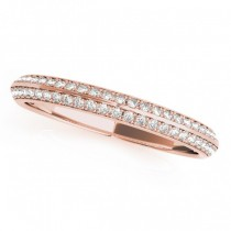 Diamond Multi-Row Wedding Band Ring 18k Rose Gold (0.38ct)
