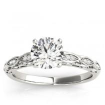 Elegant Diamond Engagement Ring Setting 14k White Gold (0.15ct)