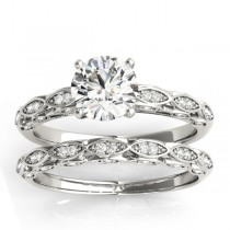 Elegant Diamond Bridal Set Setting 14k White Gold (0.33ct)