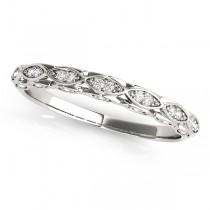 Diamond Contoured Sideways Pears Wedding Band 14k White Gold (0.18ct)