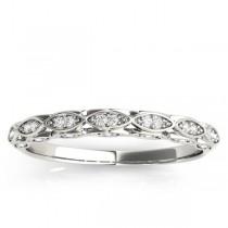 Elegant Diamond Wedding Ring Band 14k White Gold (0.18ct)