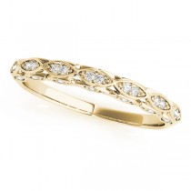 Diamond Contoured Sideways Pears Wedding Band 14k Yellow Gold (0.18ct)