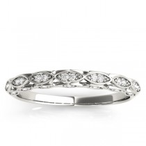 Elegant Diamond Wedding Ring Band 18k White Gold (0.18ct)