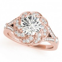 Diamond Floral Swirl Split Shank Engagement Ring 14k Rose Gold (1.25ct)