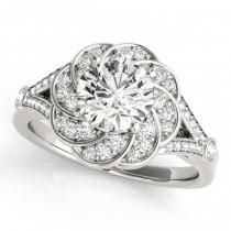 Diamond Floral Swirl Split Shank Engagement Ring 18k White Gold (1.25ct)