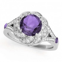 Diamond & Amethyst Floral Swirl Engagement Ring 14k White Gold (1.25ct)