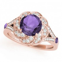 Diamond & Amethyst Floral Swirl Engagement Ring 18k Rose Gold (1.25ct)