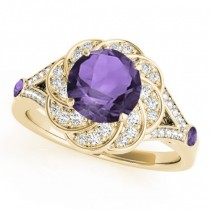 Diamond & Amethyst Floral Swirl Engagement Ring 18k Yellow Gold (1.25ct)