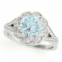 Diamond & Aquamarine Floral Swirl Engagement Ring 14k White Gold (1.25ct)