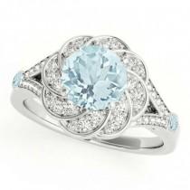 Diamond & Aquamarine Floral Swirl Engagement Ring 14k White Gold (1.25ct)