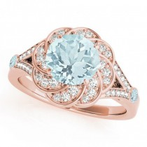 Diamond & Aquamarine Floral Swirl Engagement Ring 18k Rose Gold (1.25ct)