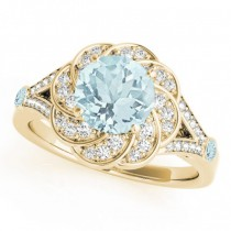 Diamond & Aquamarine Floral Swirl Engagement Ring 18k Yellow Gold (1.25ct)