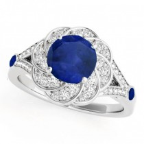 Diamond & Blue Sapphire Floral Engagement Ring 14k White Gold (1.25ct)