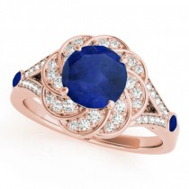 Diamond & Blue Sapphire Floral Engagement Ring 18k Rose Gold (1.25ct)
