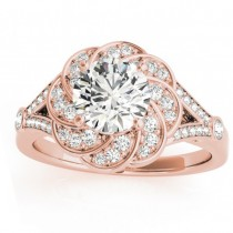 Diamond Floral Split Shank Engagement Ring Setting 14k Rose Gold (0.25ct)