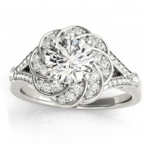 Diamond Floral Split Shank Engagement Ring Setting 14k White Gold (0.25ct)