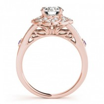 Diamond & Amethyst Floral Engagement Ring Setting 14k Rose Gold (0.25ct)
