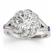 Diamond & Amethyst Floral Engagement Ring Setting 14k White Gold (0.25ct)