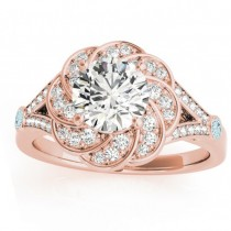 Diamond & Aquamarine Floral Engagement Ring Setting 14k Rose Gold (0.25ct)