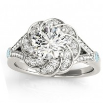Diamond & Aquamarine Floral Engagement Ring Setting 14k White Gold (0.25ct)
