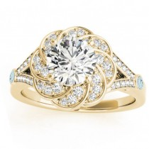 Diamond & Aquamarine Floral Engagement Ring Setting 18k Yellow Gold (0.25ct)