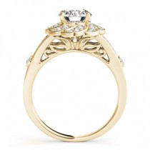Diamond & Aquamarine Floral Engagement Ring Setting 18k Yellow Gold (0.25ct)