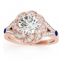 Diamond & Blue Sapphire Floral Engagement Ring Setting 14k Rose Gold (0.25ct)