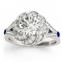Diamond & Blue Sapphire Floral Engagement Ring Setting 14k White Gold (0.25ct)