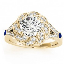 Diamond & Blue Sapphire Floral Engagement Ring Setting 14k Yellow Gold (0.25ct)