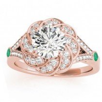 Diamond & Emerald Floral Engagement Ring Setting 14k Rose Gold (0.25ct)
