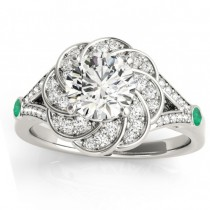 Diamond & Emerald Floral Engagement Ring Setting 14k White Gold (0.25ct)
