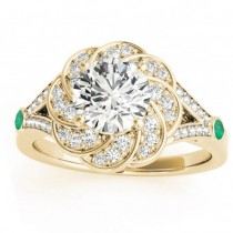 Diamond & Emerald Floral Engagement Ring Setting 18k Yellow Gold (0.25ct)