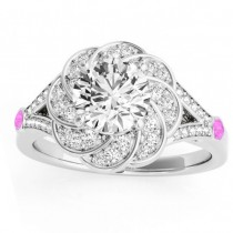 Diamond & Pink Sapphire Floral Engagement Ring Setting 14k White Gold (0.25ct)