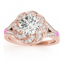 Diamond & Pink Sapphire Floral Engagement Ring Setting 18k Rose Gold (0.25ct)
