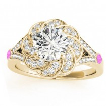 Diamond & Pink Sapphire Floral Engagement Ring Setting 18k Yellow Gold (0.25ct)
