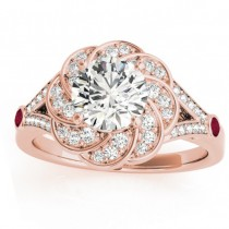 Diamond & Ruby Floral Engagement Ring Setting 14k Rose Gold (0.25ct)