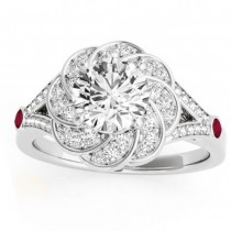 Diamond & Ruby Floral Engagement Ring Setting 18k White Gold (0.25ct)