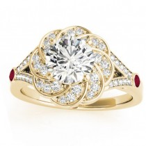 Diamond & Ruby Floral Engagement Ring Setting 18k Yellow Gold (0.25ct)
