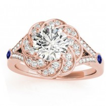 Diamond & Tanzanite Floral Engagement Ring Setting 14k Rose Gold (0.25ct)