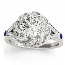 Diamond & Tanzanite Floral Engagement Ring Setting 14k White Gold (0.25ct)