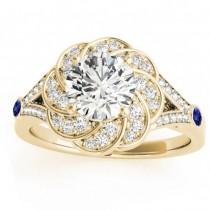 Diamond & Tanzanite Floral Engagement Ring Setting 14k Yellow Gold (0.25ct)