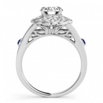 Diamond & Tanzanite Floral Engagement Ring Setting Palladium (0.25ct)