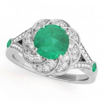 Diamond & Emerald Floral Swirl Engagement Ring 14k White Gold (1.25ct)